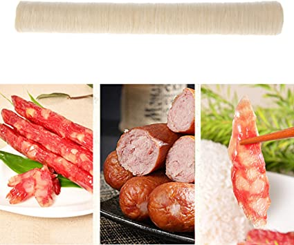 chuwa 5 Pc Natural Collagen Sausage Casing 14M 17mm Sausage Casing Skins Cover for Fresh Hot Dog Ham Meat Smoked Roast DIY Sausage Stuffer Kit Attachment