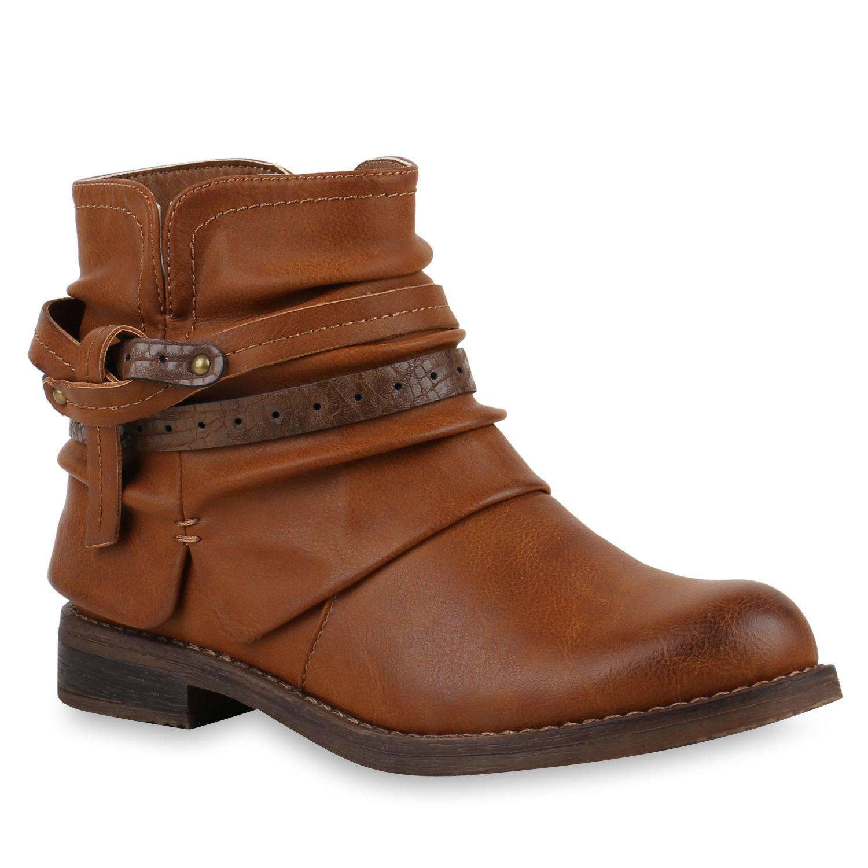 Stiefelparadies Damen Stiefeletten Biker Boots mit Blockabsatz Schnallen Nieten Flandell Braun Knoten