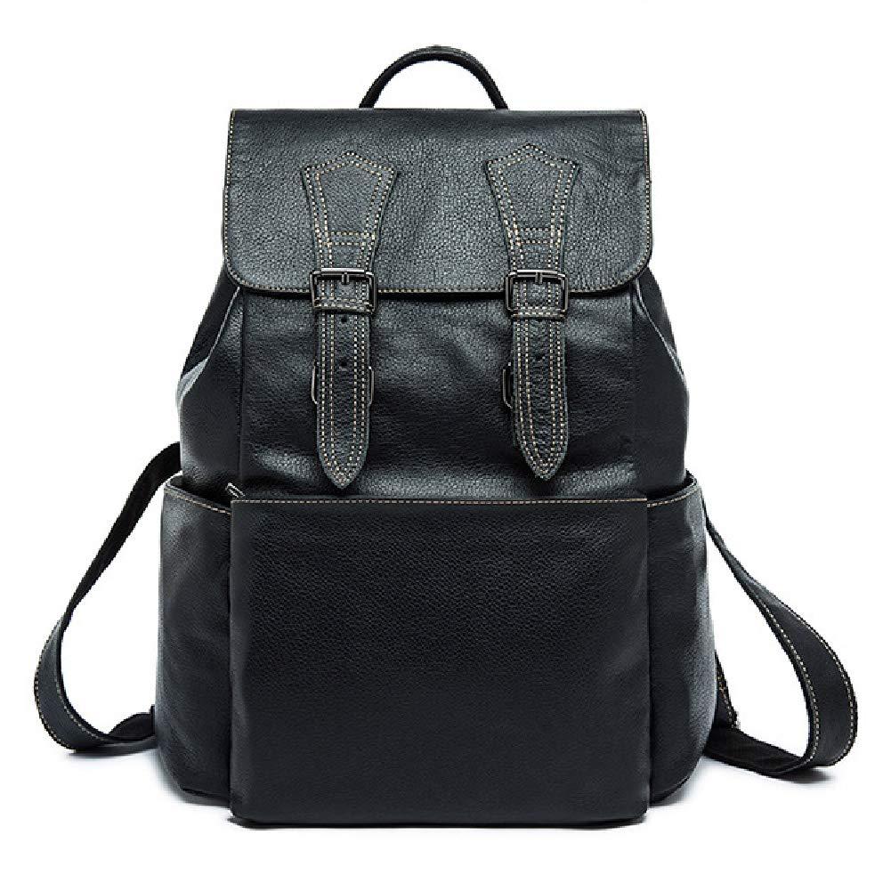 メンズ本革手作り17インチノートパソコンのバックパックリュックサックマルチポケット旅行スポーツバッグ大本革旅行のためのラップトップ旅行ロ B07RBQR4FL black