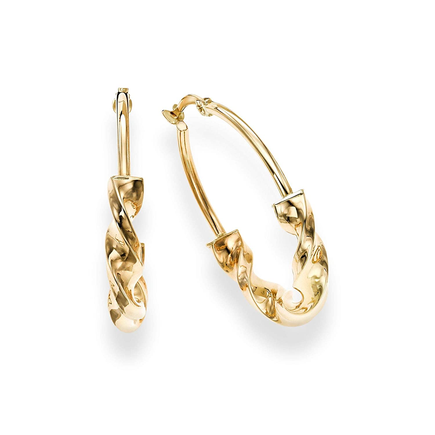 14K Yellow Gold Finish 4.5x23.5mm Shiny Round Hoop Wheat Earrings with Hinged by IcedTime