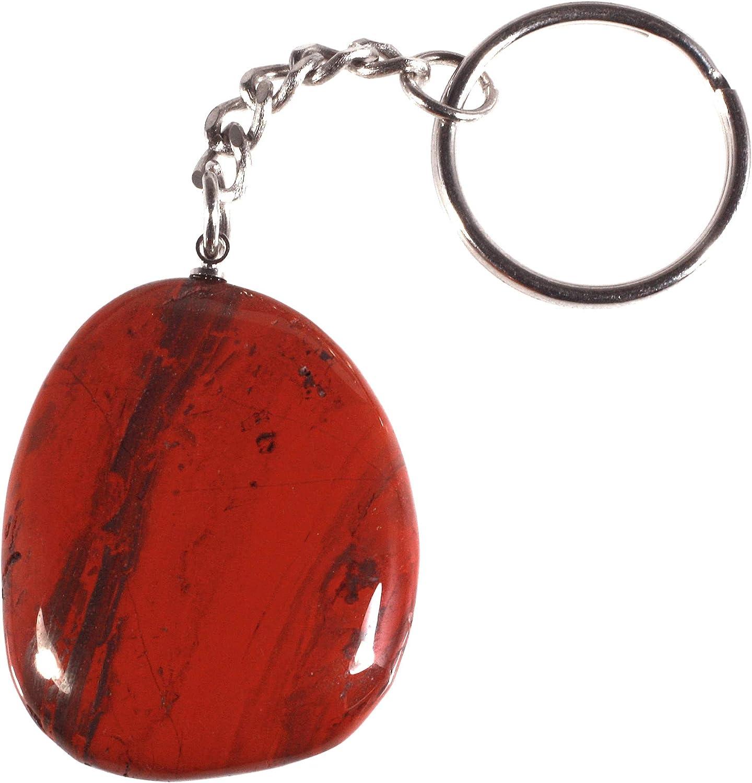 Red Jasper Disc Fob Keyring