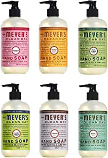 product image for Mrs. Meyer's Liquid Hand Soap Holiday Scents Plus Everyday Scents 6 Scent Variety Pack, 1 Iowa Pine, 1 Orange Clove, 1 Peppermint, 1 Basil, 1 Lavender, 1 Lemon Verbena, 1 CT