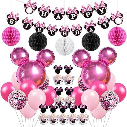 Amazon.com: Decoración para fiesta de cumpleaños de Minnie ...