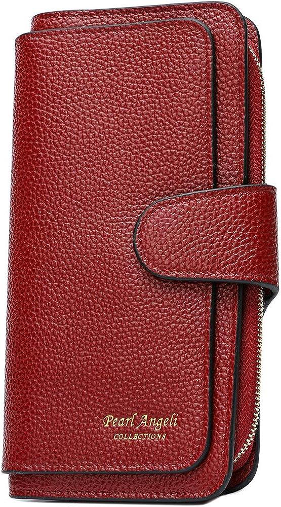 Pearl Angeli Soft Genuine Leather Women Wallet RFID Blocking Large Capacity Tri-fold Multi Card Holder Organizer Ladies Clutch