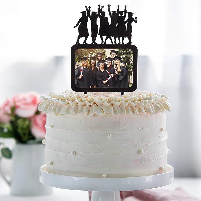 Congrats Grad Cake Topper Black Acrylic Photo Frame Silhouette