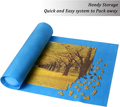 Blue Ingooood Jigsaw Puzzle Mat Roll Up Puzzle Tables for Adults Portable Easy Move Storage Jigsaw Puzzle mat Work Separate roll up Storage System for up to 1,000 Pieces
