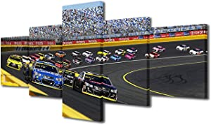 Charlotte Wall Art for Living Room,Yankees Modern Home Decor Canvas Motor Speedway Pictures House Decorations Track of NASCAR Race F1 Artwork Paitings 5 Pcs Bedroom Bathroom Posters and Prints