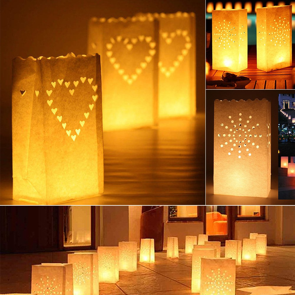 LVOERTUIG 10Pcs Paper Lantern Candle Bag Tea Light Holder Luminaria Home Romantic Wedding Party Decoration Supplies Double Love-Heart/Star+Moon/Love Heart/Sun Shaped(Sun)