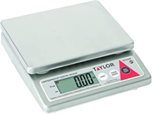 Taylor Precision TE10CSW 10-Pound Water Resistant Digital Portion Control Scale, Dry & Liquid, Stainless Steel, NSF