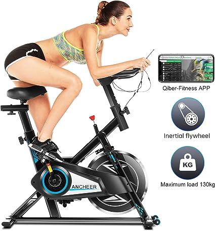 Ancheer Bicicleta Estática de Spinning Bicicleta Interior Volante 10kg, Pantalla LCD, Sillín Ajustable, Máximo Usuario130 kg (Negro): Amazon.es: Deportes y aire libre