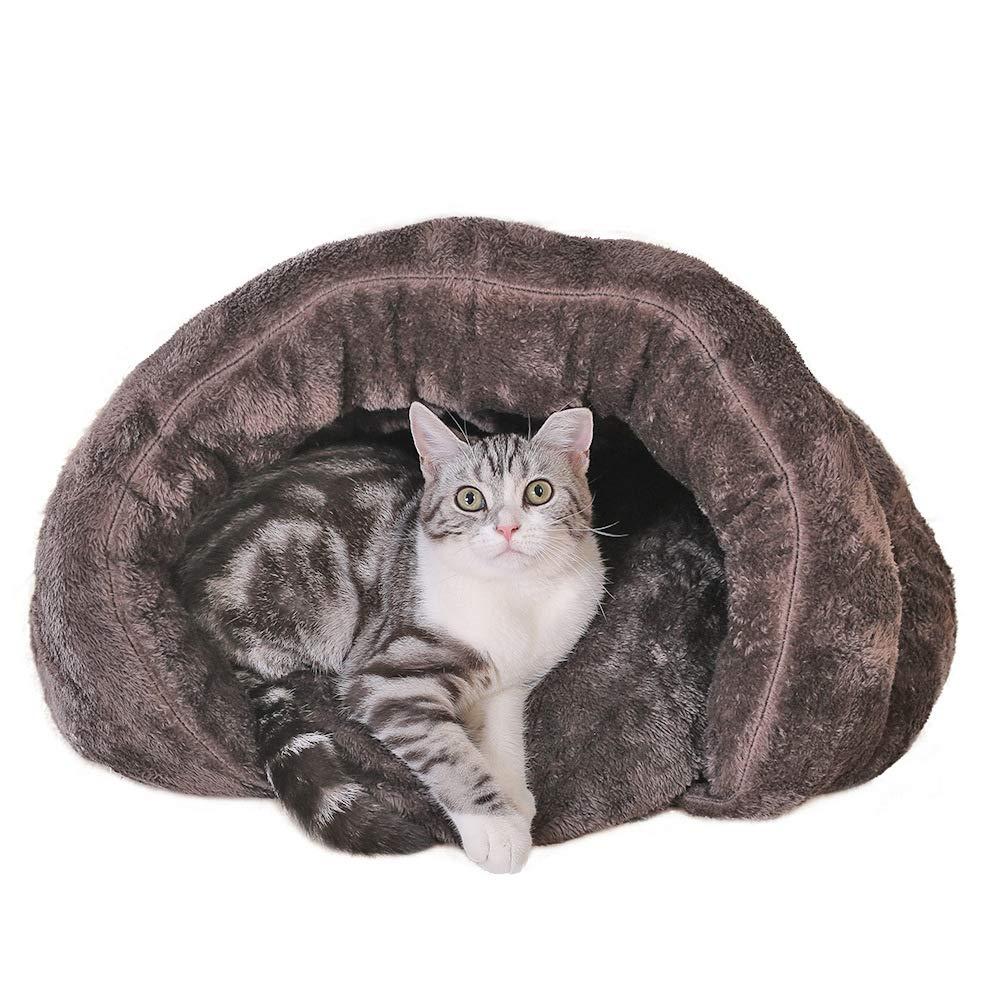 Brown M Brown M Jiaa Removable Cat Sleeping Bag,Plush Closed Pet Mat