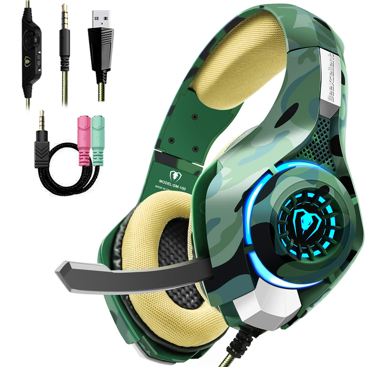 Beexcellent Gaming Headset for PS4 PC Xbox One, Stereo PS4 Gaming Headset with Noise Isolation Mic, Memory Foam Earcup, Thumb Wheel Volume Switch, Lightweight Xbox One Headset for Laptop Tablet-Camo by Beexcellent