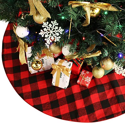 Boao 36 Inch Plaid Christmas Tree Skirt with Red and Black Buffalo Check Tree...