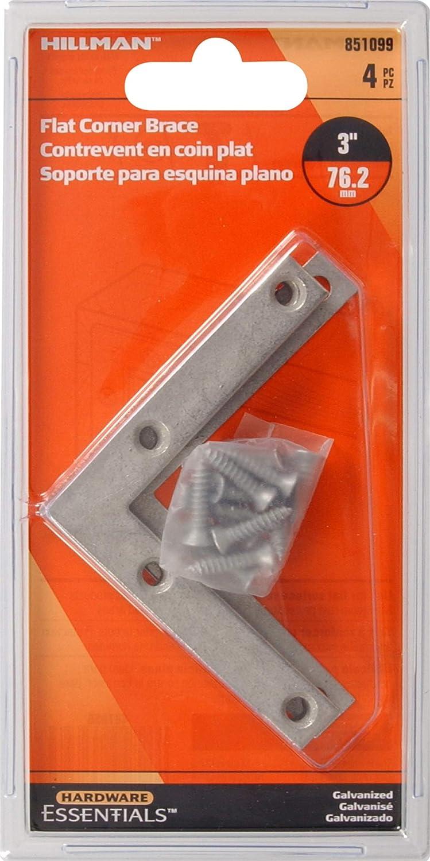 Hillman Hardware Essentials 851099 Flat Corner Iron Galvanized 3 x 1 2 4 pack