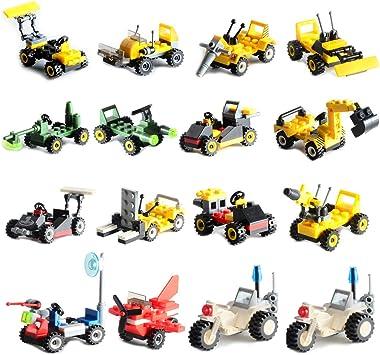 Amazon.com: Juego de 16 pequeños vehículos construibles ...