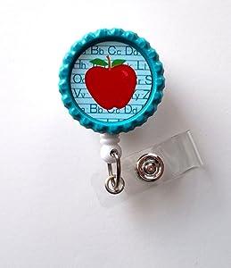 Teacher Apple Blue - Retractable Badge Reels - Teacher Badge Holder - Id Badge Reel - Teacher Appreciation Gift - Preschool Teacher Badge - Alligator Clip