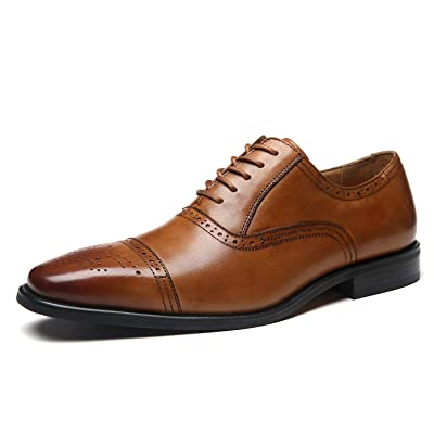La Milano Mens Leather Cap Toe Lace up Oxford Classic Modern Business Dress Shoes for Men | Oxfords