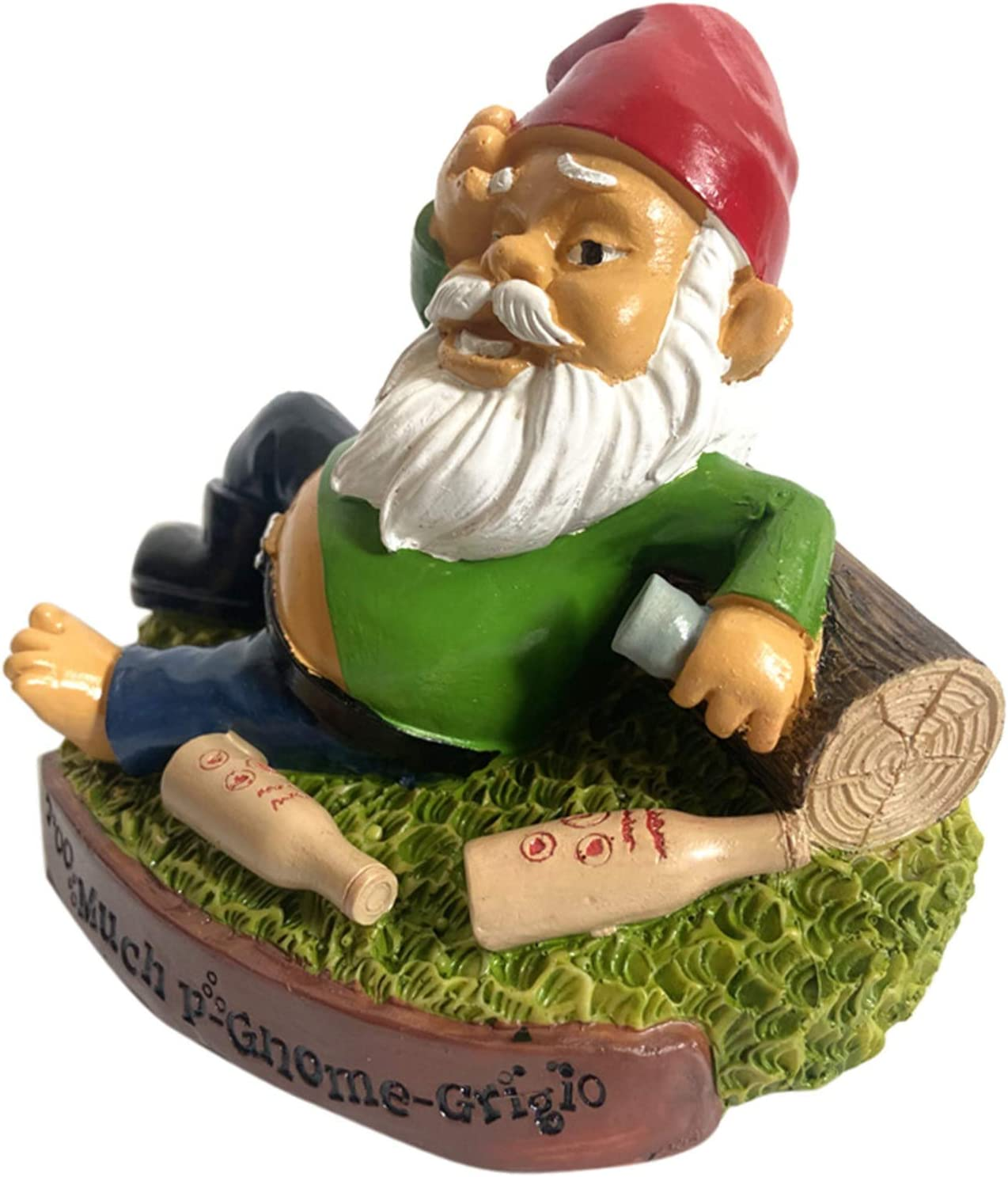 "Drunken Gnome - 6"" Tall Polyresin - Owill Funny Garden Gnome for Patio Lawn Yard Ornaments, Indoor Outdoor Home Decorations - Red and Green Funny Gnomes Garden Decorations"