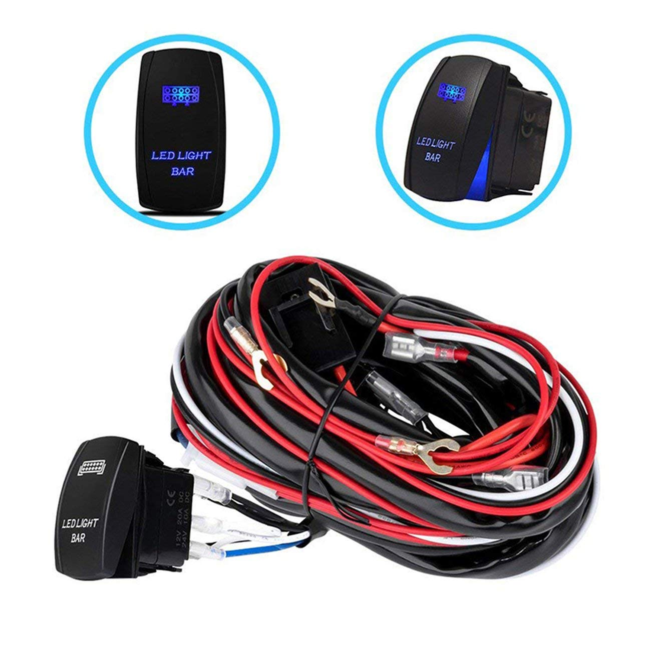 red /& Black /& White 12V//40A Car Fog Light Wiring Harness ON//Off Switch LED Work Light Switch for Off-Road Spotlights Switch Relay Kit