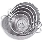 Vegetable Strainer Sifter Colander Sieve Stainless Steel Kitchen Sink Fine Mesh & Strong Handle Food Basket 6 Pcs set