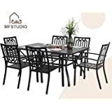 """MFSTUDIO 7 Piece Metal Patio Dining Sets Outdoor Club Bistro Bar Sets with 1.57"""" Umbrella Hole, 6 Stackable Metal Chairs and 1 Larger Rectangle Patio Table, Steel Slat Frame, Black"""