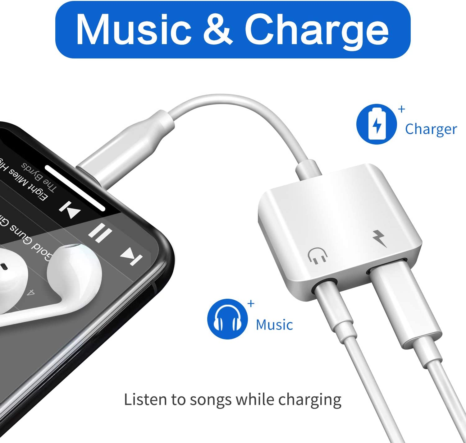 Cdyle Headphone Adapter for iPhone 11 Charging Cable for iPhone 7//7 Plus 8//8 Plus//X//XR//XS Max Audio Jack to 3.5mm Earphone Adaptor Audio Charge Cable Dongle Extension Cord AUX Female Support All iOS