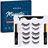 KRONA Magnetic Eyelashes With Eyeliner Kit - 2 Tubes Of Magnetic Eyeliner & 5 Pairs Of Reusable Falsies - Natural-Long…