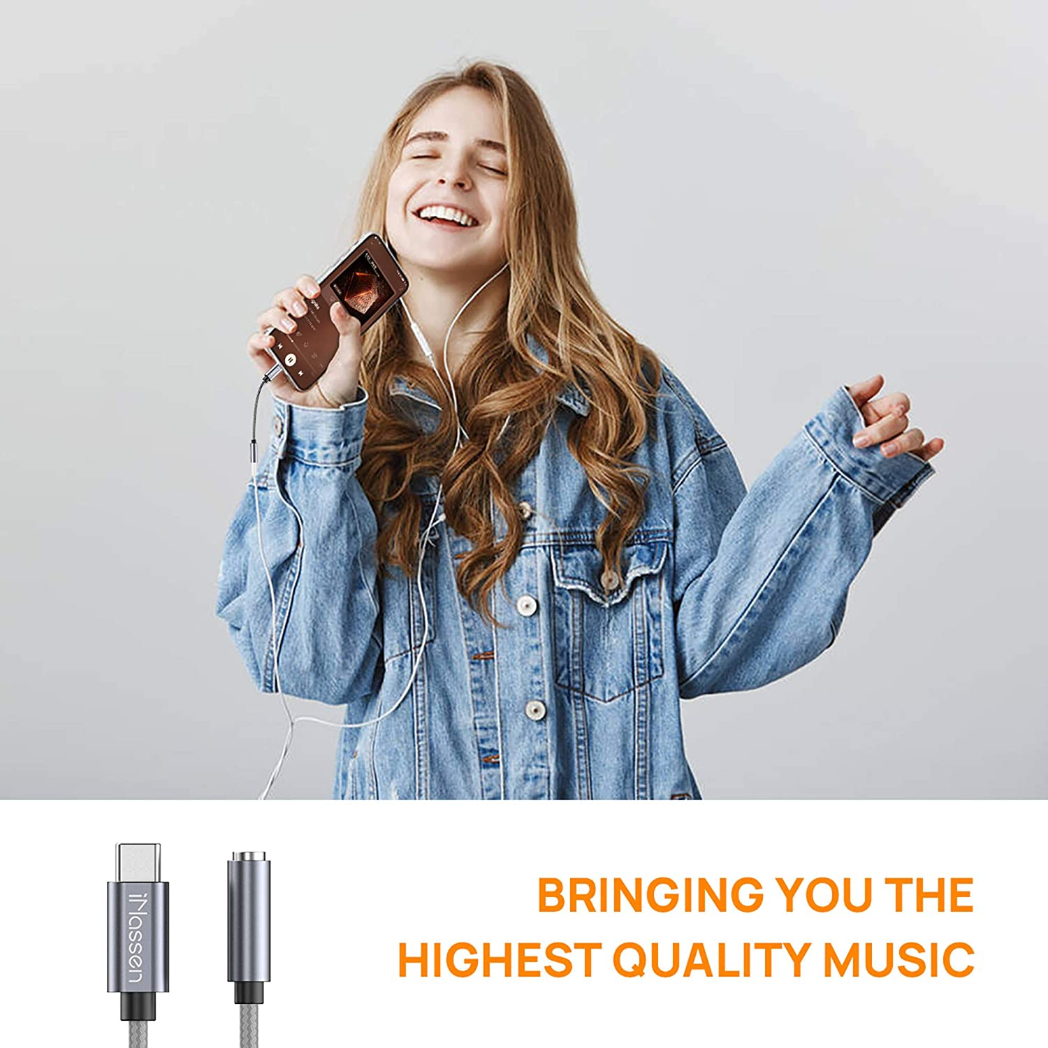 USB C to 3.5mm Headphone Jack Adapter iPad Pro iNassen Type C to Aux Audio Dongle Cable Cord 384khz-32bit Hi-Res DAC for Pixel 4 3 2 XL Samsung Galaxy S20 Ultra Z Flip S20+ Note 10 Note 10+ Grey