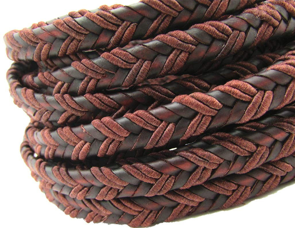 8.0x3.0mm Flat Folded Bolo Braided Leather Cords for Bracelet Jewelry Making Brown, 2 Meters