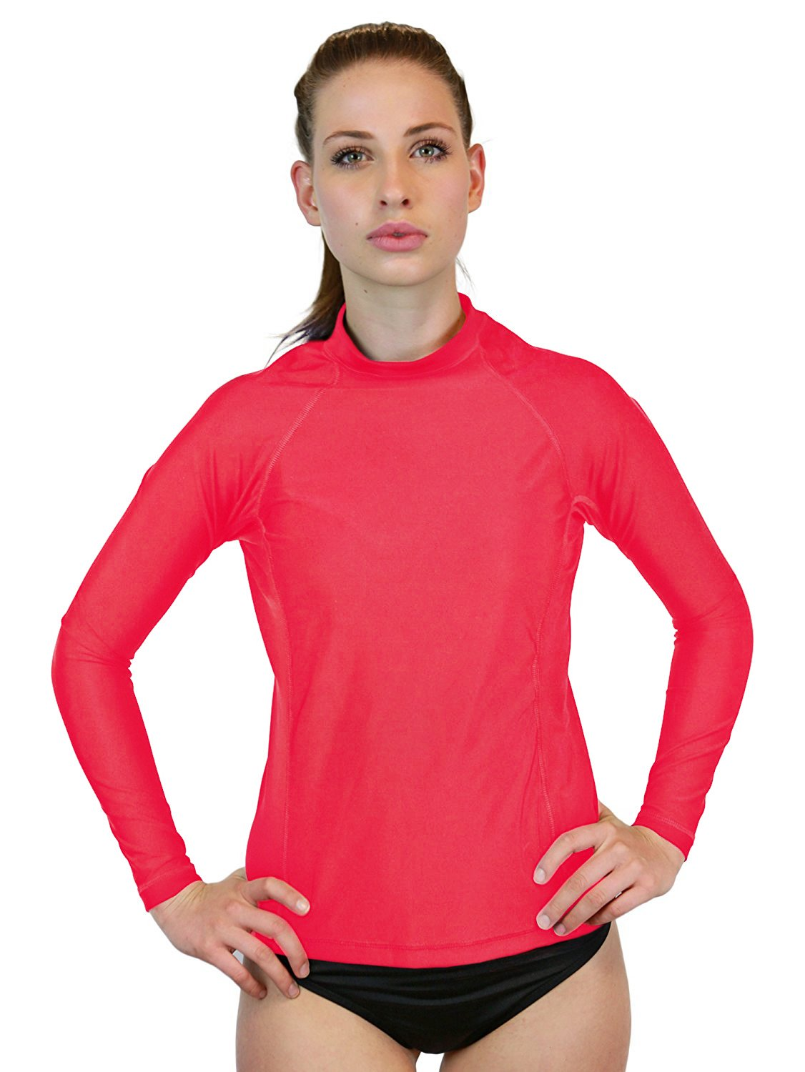 Swim Shirt for Women - Long Sleeve Rash Guard Top with UV 50 Skin/Sun Protection, Workout Shirt, Made in USA! (Salmon, X-Large)