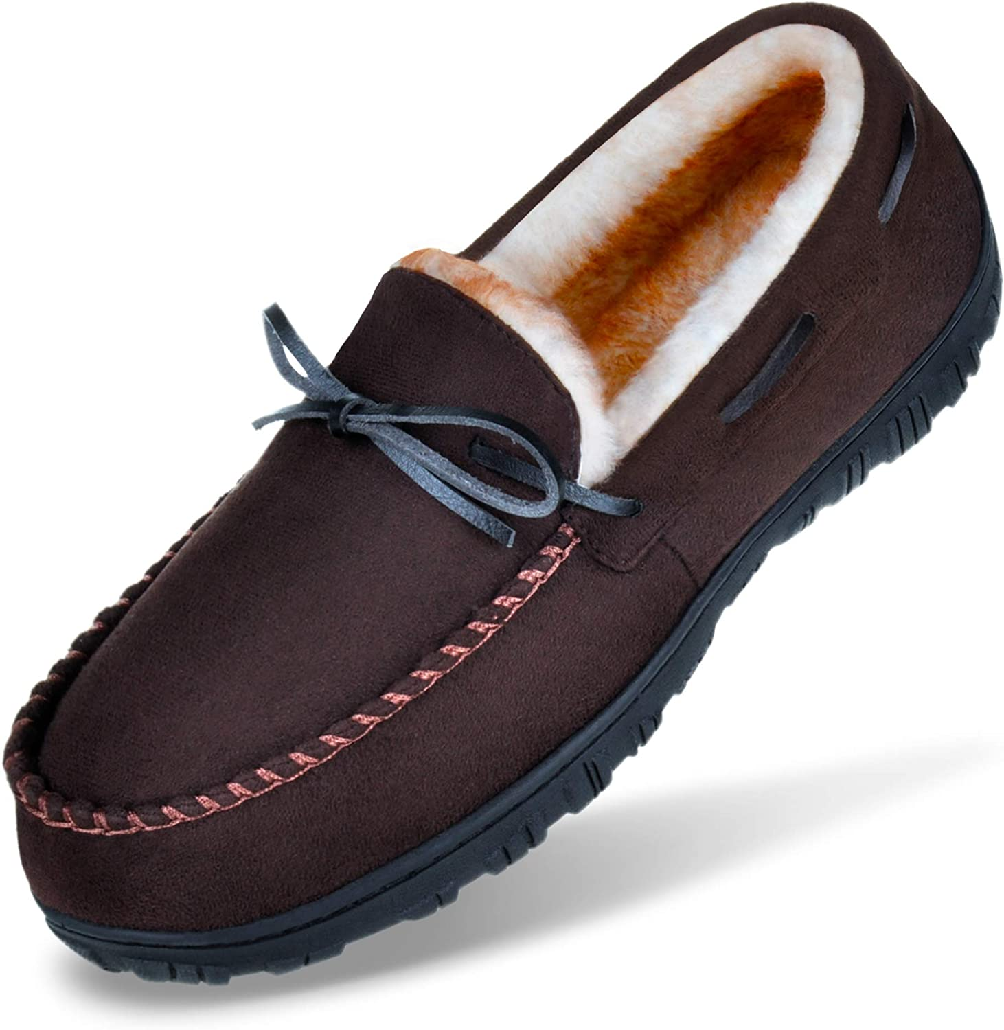MIXIN Mens Slippers Moccasins Slippers for Men Warm House Slip on Flats Shoes with Cozy Memory Foam for Men Indoor