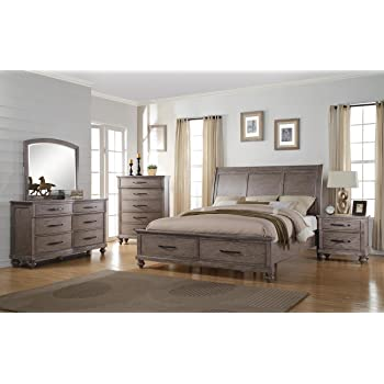langley 5 piece cal king storage bedroom set with chest in weathered wood grain grey - Grey Bedroom Set