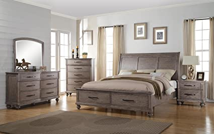Langley 5 Piece Cal King Storage Bedroom Set with Chest in Weathered Wood  Grain Grey