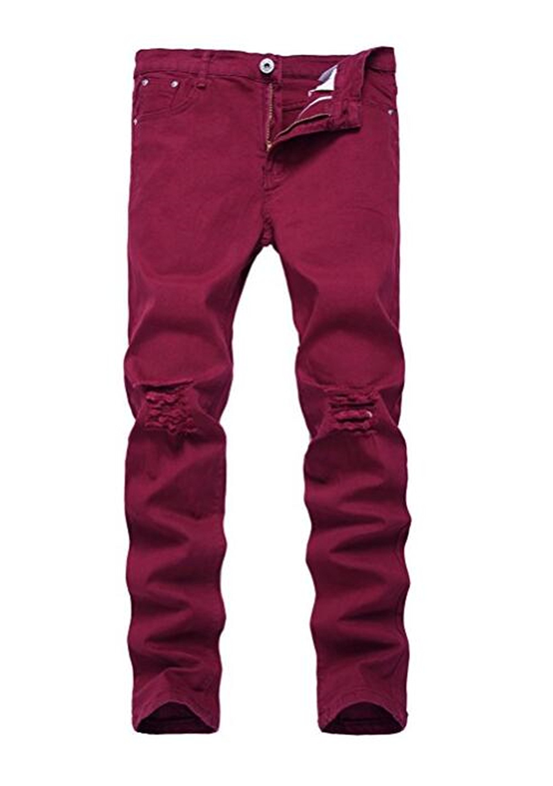 OBT Boy's Wine Red Stretch Skinny Fit Ripped Destroyed Distressed Fashion Slim Denim Jeans 8