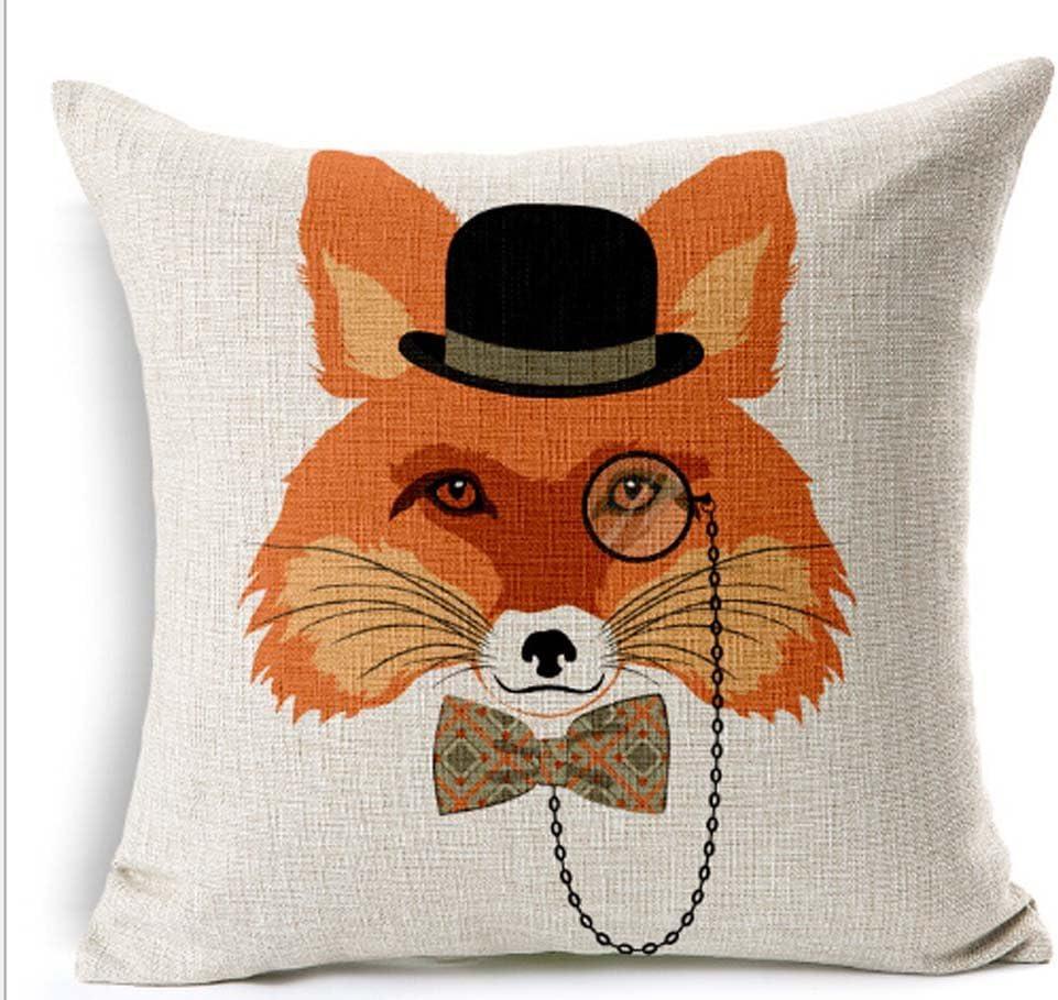 Animal Sofa Pillow Case Cotton Linen Fashion Throw Cushion Cover Home Decor