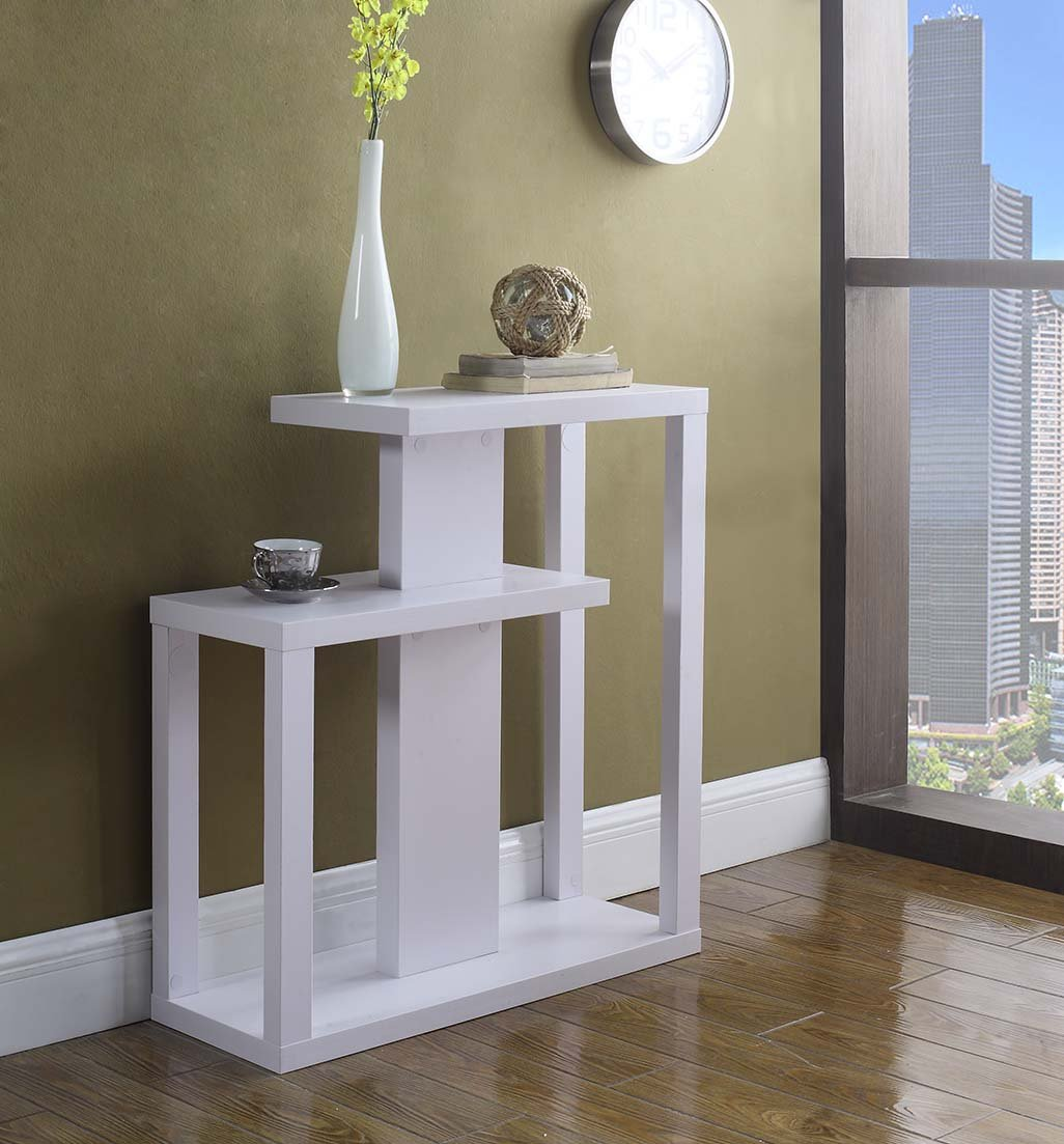 White Finish Modern Console Sofa Entry Table Bookshelf by eHomeProducts