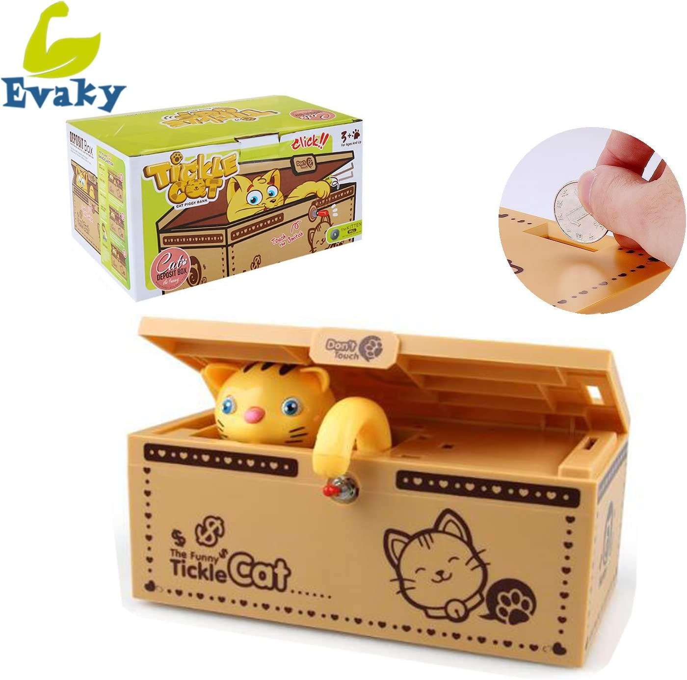 Evaky Creative Cartoon Useless Box Eat Money Cat Piggy Bank Electronic Coin Bank with Music and Light Funny Money Box Toy Gift Desk Decoration