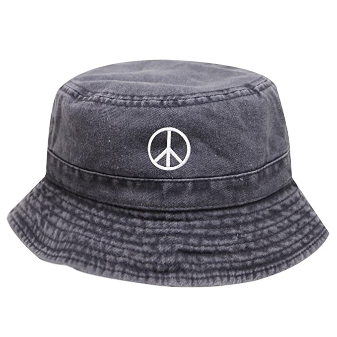 d239f0cc0fa City Hunter Bd2020 Peace Sign Washed Cotton Bucket Hats Multi Colors (Black)