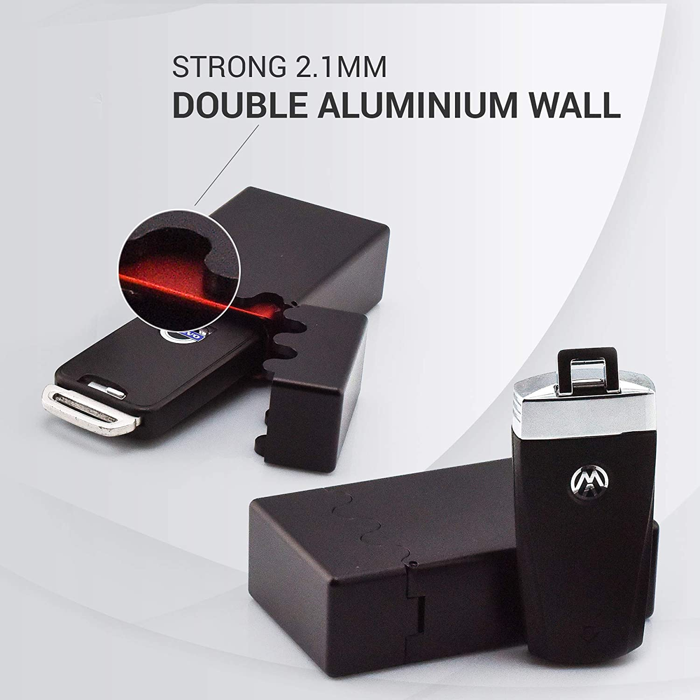 GETROC Designer Keyless Go Protezione per Auto e Moto Box antifurto Chiave Auto Protezione in Alluminio RFID Blocker Custodia Protettiva Rosso Nero RS M