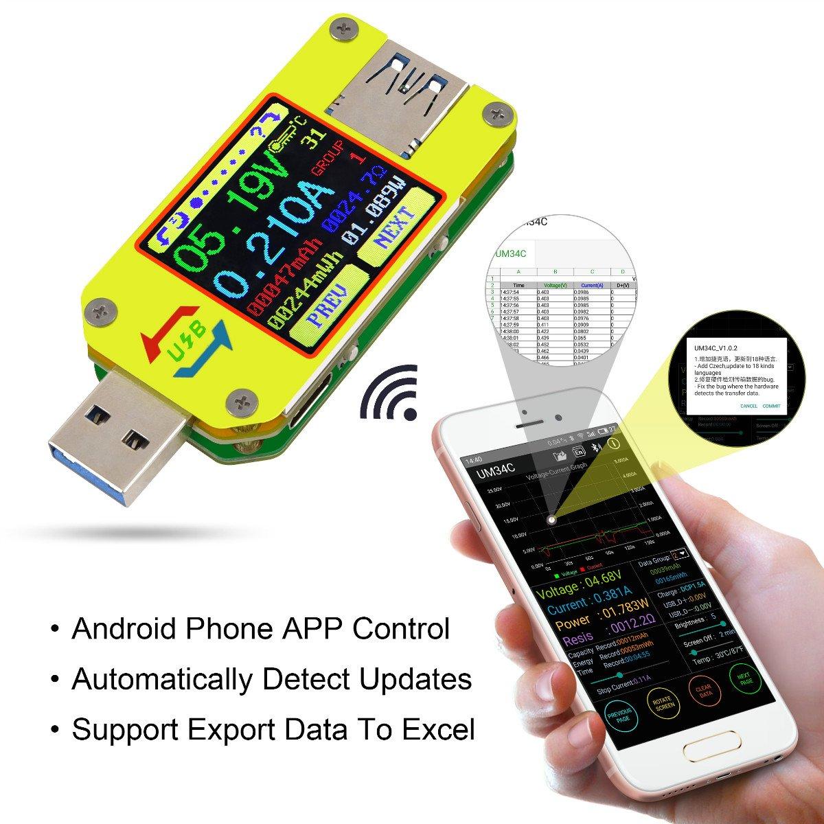 MakerHawk UM34C USB Meter Tester Voltage Current Bluetooth Battery Power Charger Voltmeter Ammeter Multimeter Tester, 1.44 Inch Color LCD Display USB 3.0 Type- C Cable Resistance Load Impedance Meter