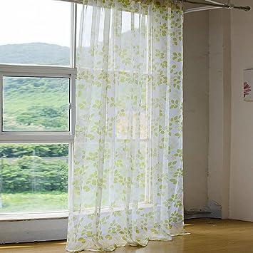 2er Set Grüne Kleine Frische Gaze Blätter Gardine Wohnzimmer Vorhänge Mit  Haken, BxH 140x245cm