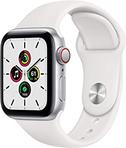 New Apple Watch SE (GPS + Cellular, 40mm) - Silver Aluminum Case with White Sport Band