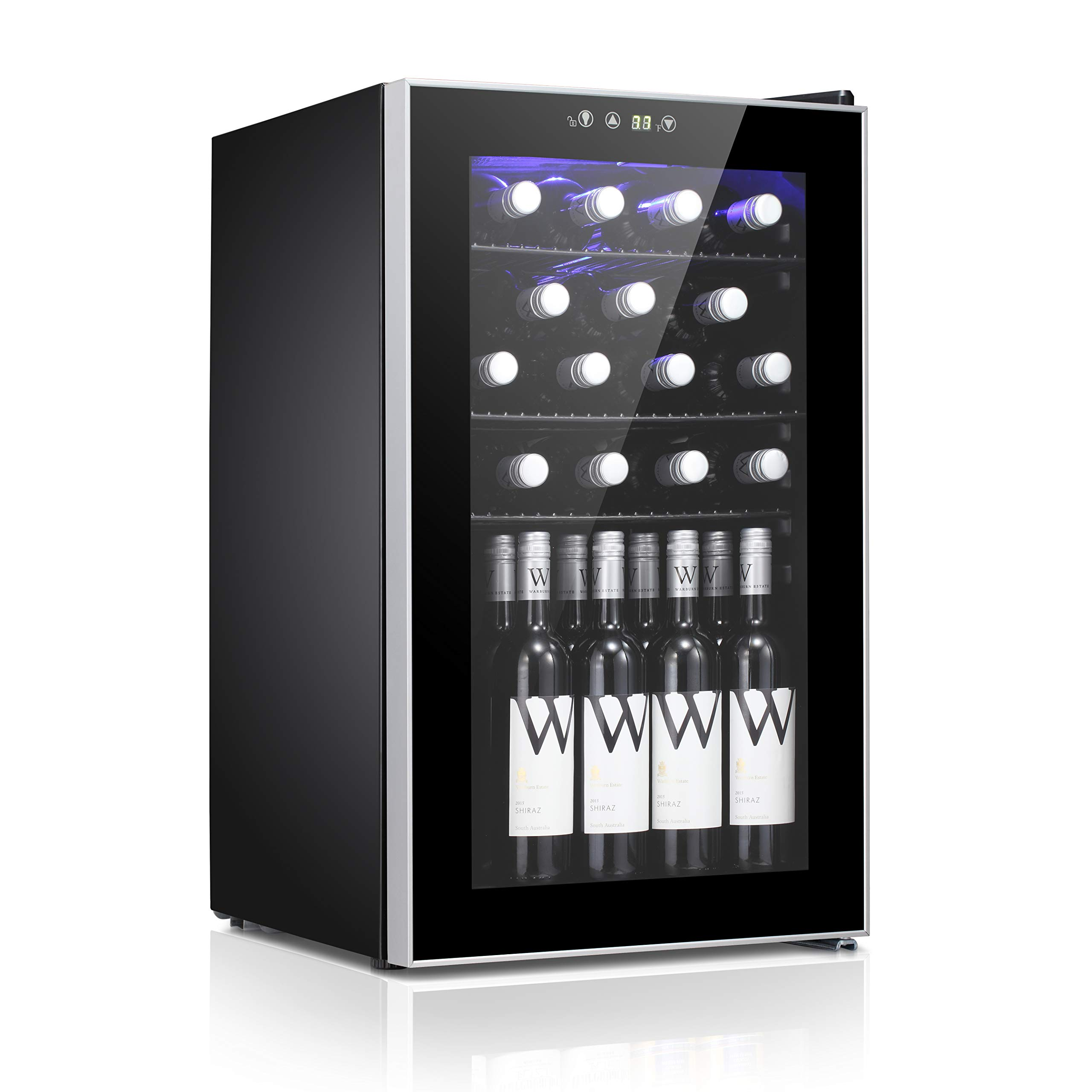 24 Bottle Wine Cooler - Compressor Wine Cellar - Counter Top Wine Chiller- Cabinet Refigerator with Glass Door and Touch Panel Digital Temperature Display