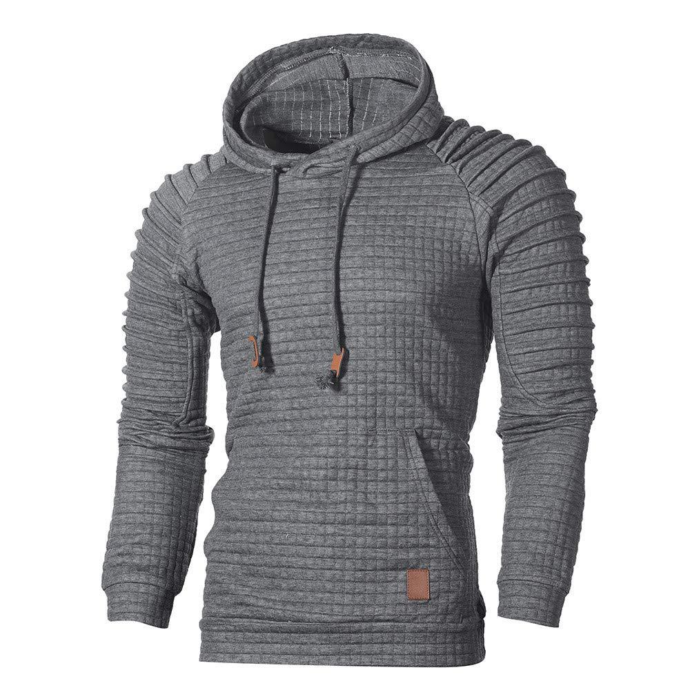 GREFER Men's Hooded Sweatshirt Autumn Long Sleeve Plaid Hoodie Top Tee Outwear Dark Gray by GREFER