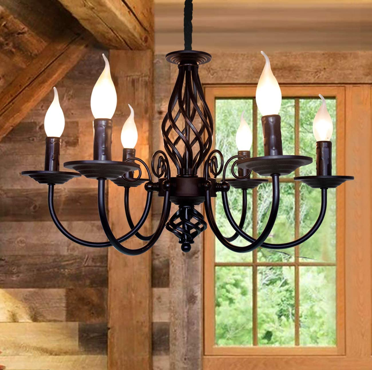Amazon Com Jaycomey French Country Chandelier Vintage Candle Chandelier 6 Lights Farmhouse Pendant Light Fixture For Kitchen Island Dining Room Living Room Home Improvement