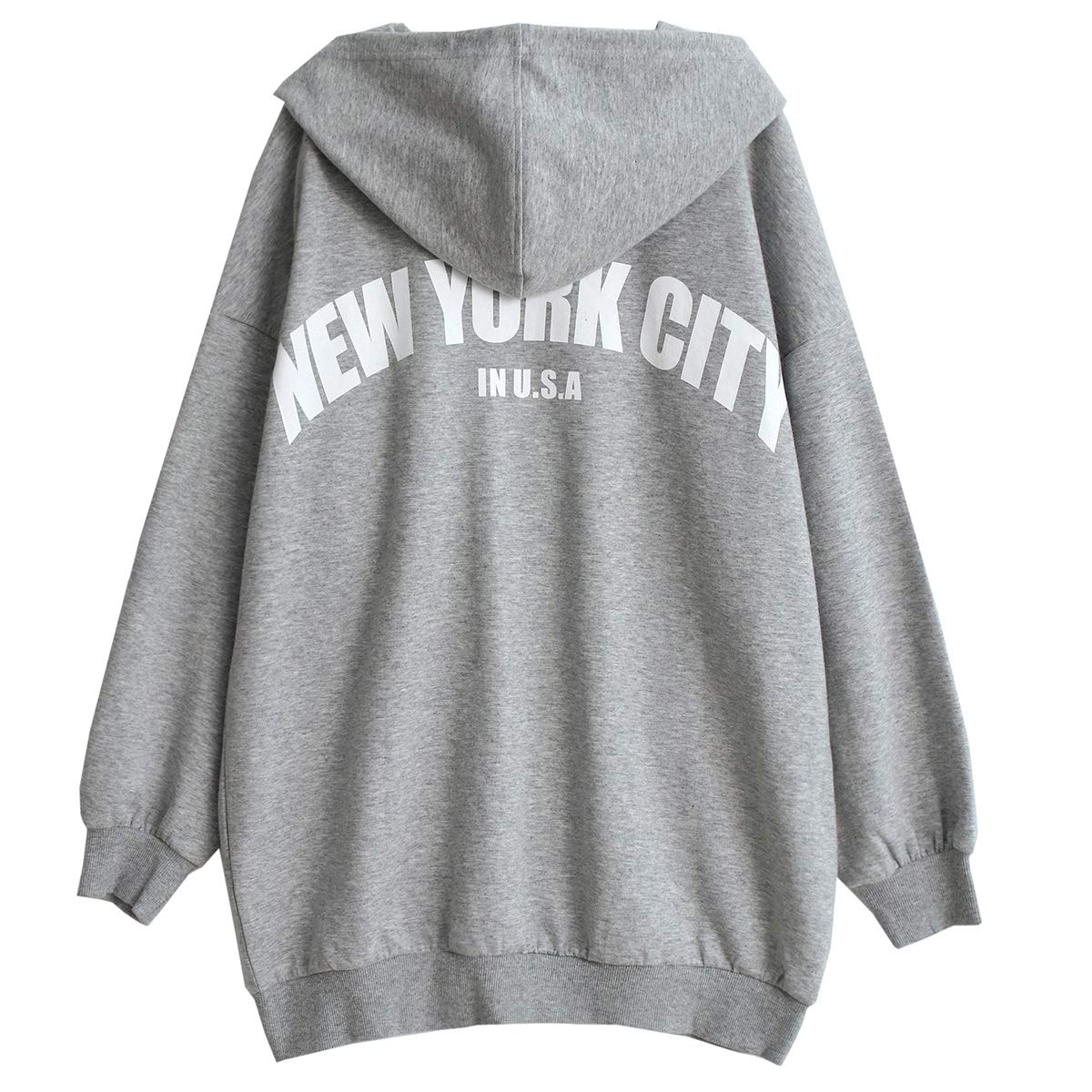 Women's Full Zip Hoodie Loose Casual Sweatshirts (Gray, Medium)