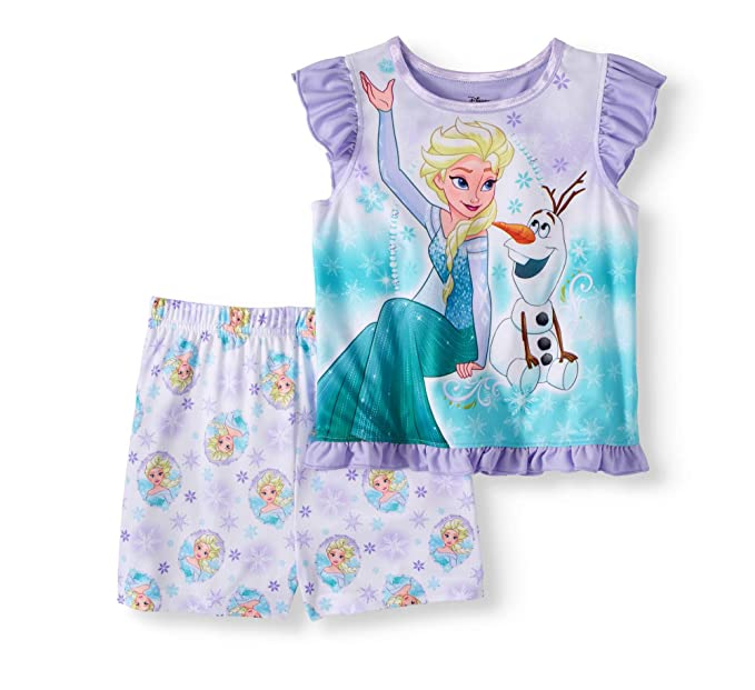 7f57641bb2cfc Disney Frozen Toddler Girls Princess Elsa and Olaf Flutter Sleeve 2-Piece  Pajamas Set (