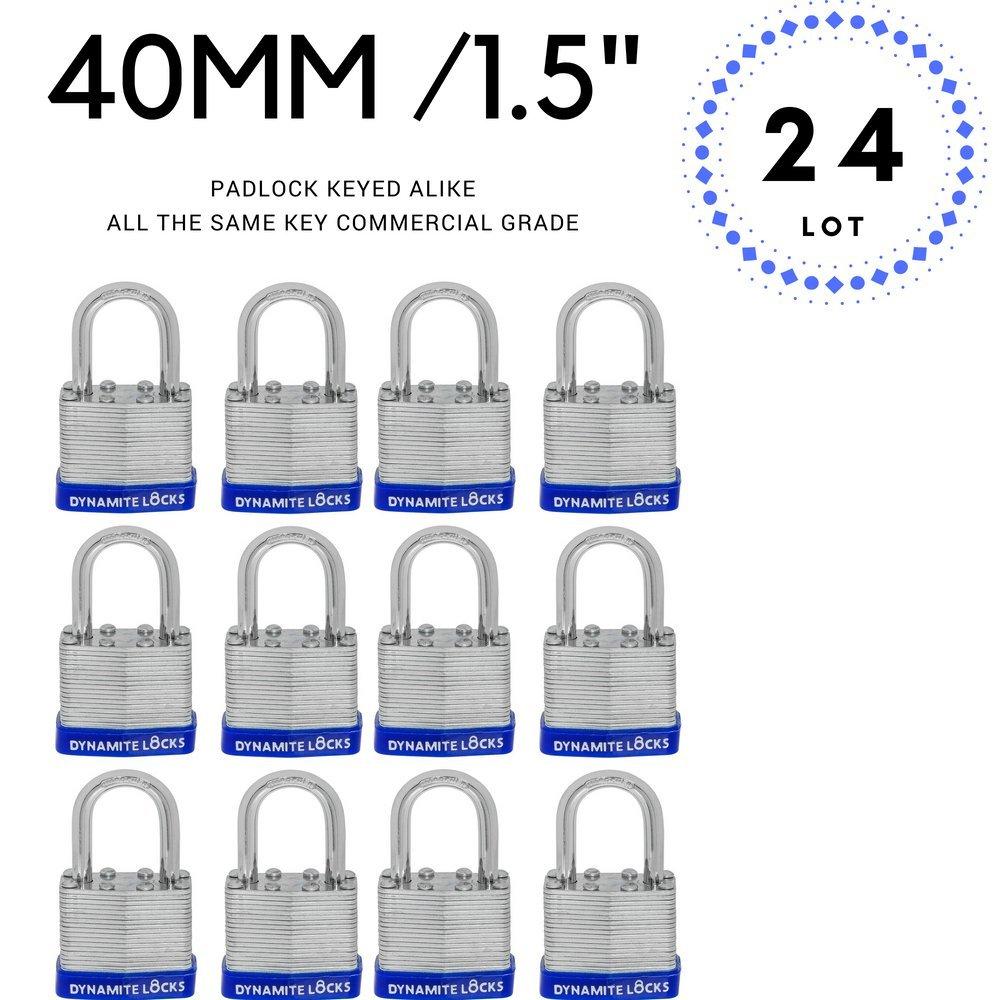 24 PC PIECE SET 40MM KEY ALIKE SHORT SHACKLE PADLOCK KEYEDALIKE COMMERCIAL GRADE PAD LOCKS PADLOCK KEYED THE SAME A LIKE