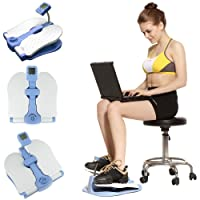 Gr8 Fitness Deluxe Stepper Home Gym Blue Under Desk Table Trainer Aerobic Legs Thighs Sitting Workout Exercise Training Step Machine Foot Pedal Stair Climber Fat Burning Sports Portable Equipment With LCD Monitor And Storage Carry Bag