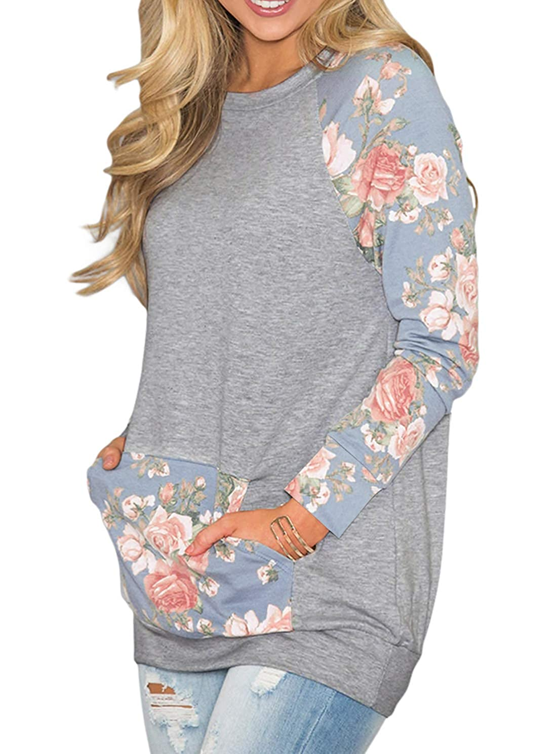 Light bluee Ecrocoo Women's Sweatshirt Casual Long Sleeve Floral Print T Shirt Kangaroo Pocket Blouses Top